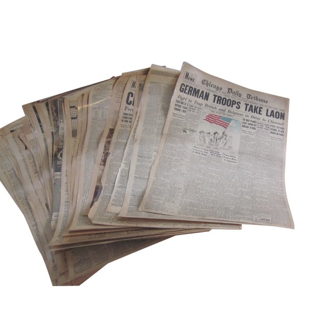 Image of 48 Laminated Newspapers from 1940s