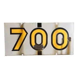 """Vintage """"700"""" Enamel Painted Metal Sign"""
