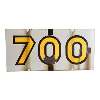 "Vintage ""700"" Enamel Painted Metal Sign"