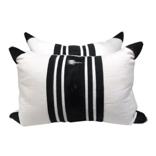 Black & White, Cowhide & Linen Pillows - A Pair