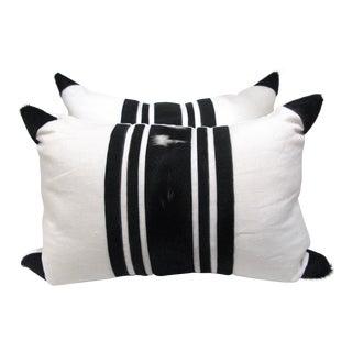 Black & White, Cowhide & Linen Pillows - A Pair