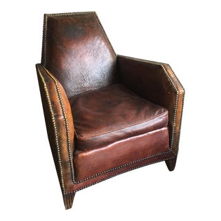 1930's Restored English Leather Brass Studded Club Chair