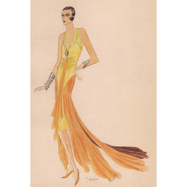 Original Art Deco Fashion Drawing - Image 2 of 4