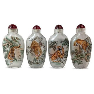 Reverse Painted Glass Snuff Bottles - S/4