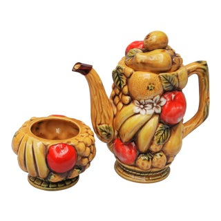 Mid-Century Fruit & Vegetable Teapot & Sugar Holder - A Pair