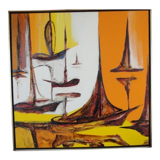 Mid-Century Abstract Oil on Canvas Frank Walcutt Sail Boats