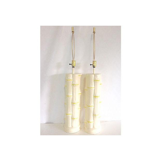 1960s Ceramic Faux Bamboo Lamps - Pair - Image 4 of 6