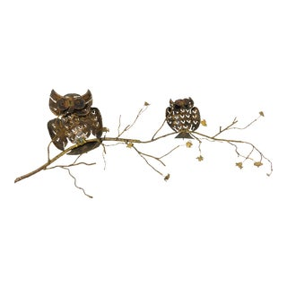 1960s Brass & Copper Owl Wall Sculpture