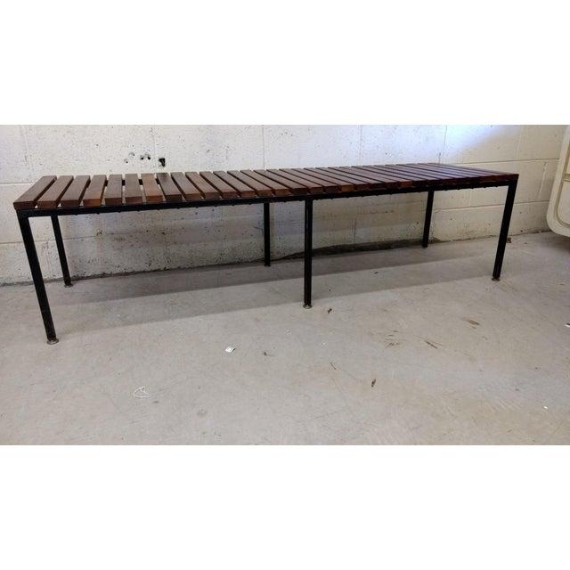 Knoll Style Mid Century Modern Wood Metal Slat Bench Chairish