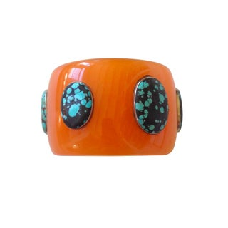Vintage Bakelite and Turquoise Bangle