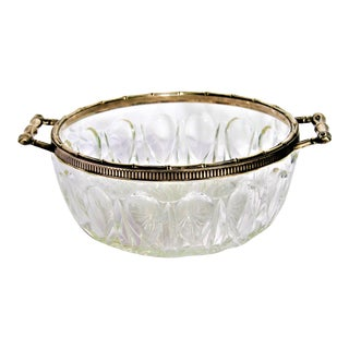 Vintage Bamboo Silverplate & Cut Glass Serving Bowl