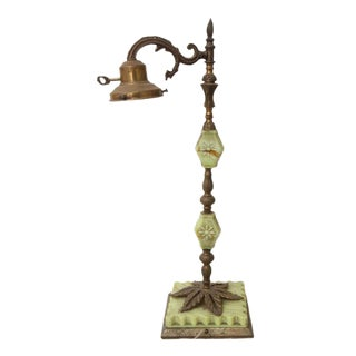 Light Green Floral Marble & Brass Lamp