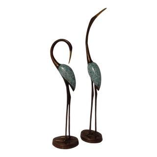 Brass Crane Sculptures - A Pair