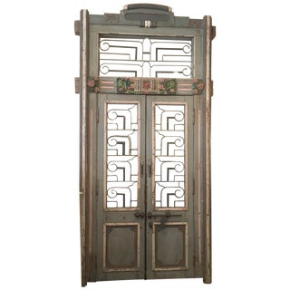 Wood and Iron Hand Carved and Painted Indian Door