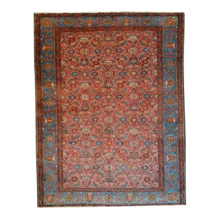 """Antique Persian Coral Field Senneh Rug - 4'8"""" X 5'11"""""""