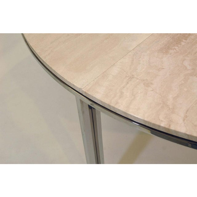 Pace Polished Stainless and Travertine Dining Table - Image 5 of 7