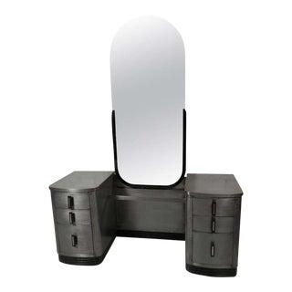 Simmons Double Pedestal Mid-Century Modern Metal Vanity With Mirror