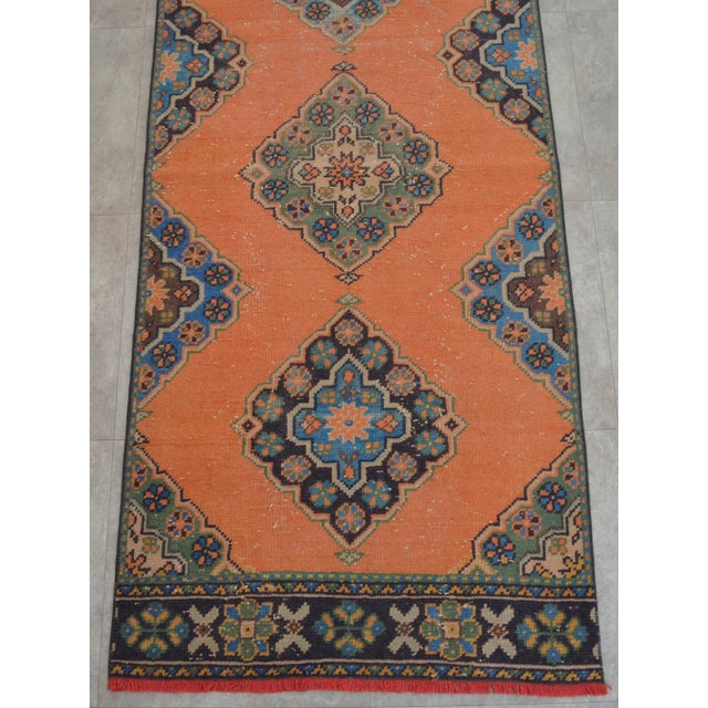 "Distressed Oushak Rug Runner Salmon Hallway Decor - 3' x 10'9"" - Image 7 of 10"