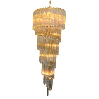 Tall Crystal and Brass Spiral Chandelier