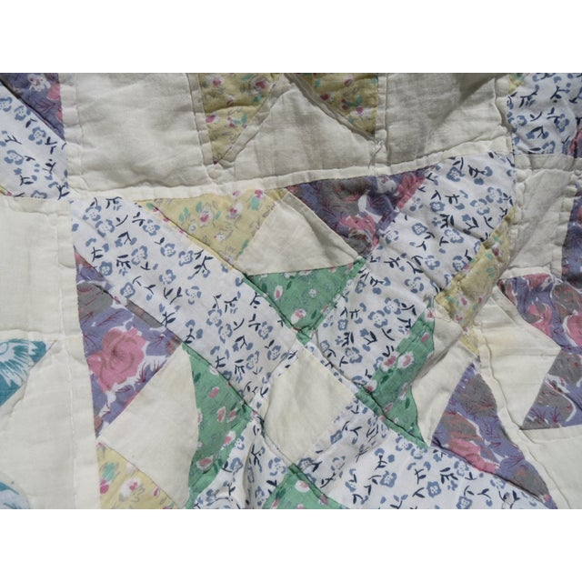 Vintage Feedsack Star Quilt - Image 4 of 8