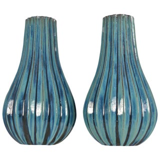 Large Pair of Italian Glazed Terracotta Vases