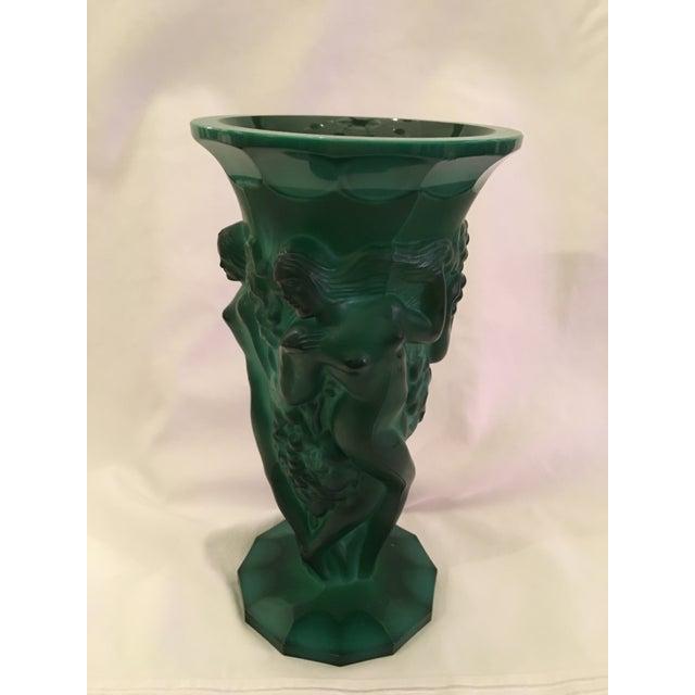 Image of Art Deco Inspired Green Glass Vase