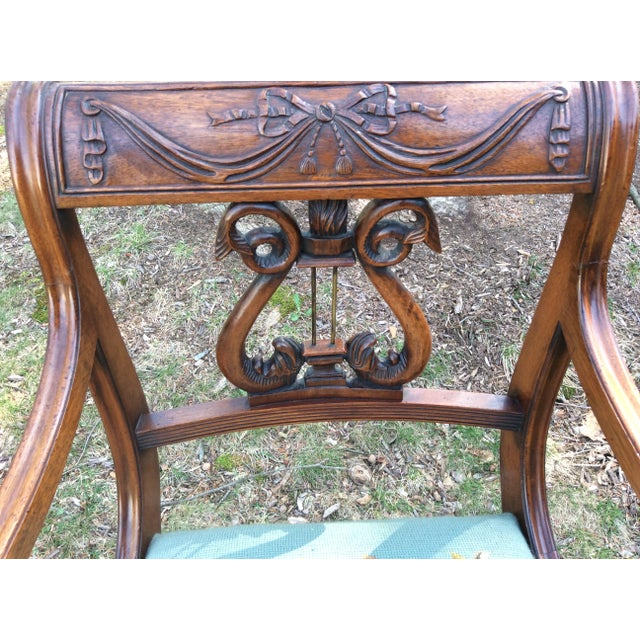 Regency Floral Needlepoint Harp Arm Chair - Image 5 of 7