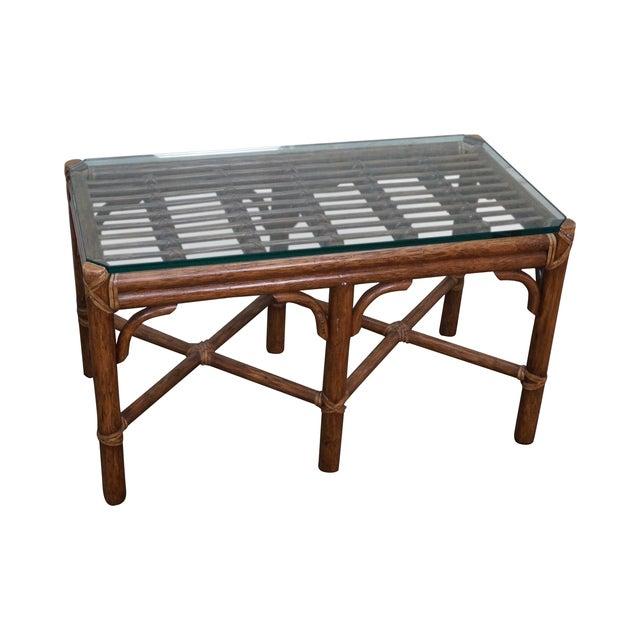 Mcguire Rattan Bamboo Glass Coffee Table Chairish