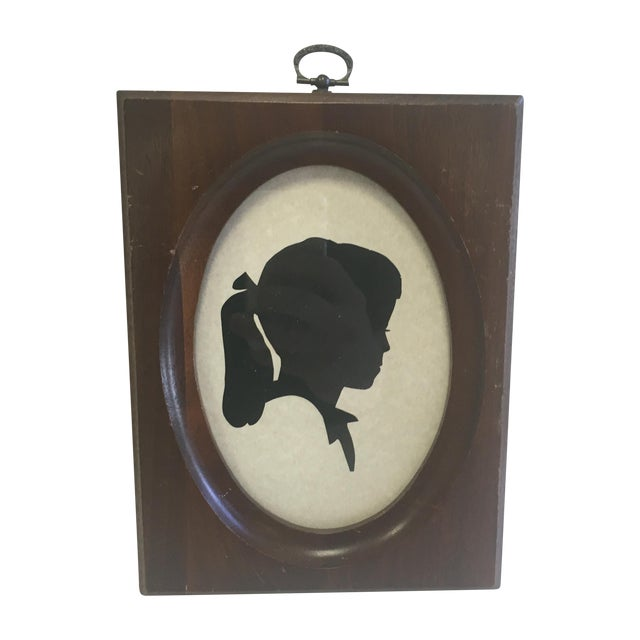 Original Vintage Girl With Ponytail Silhouette - Image 1 of 8