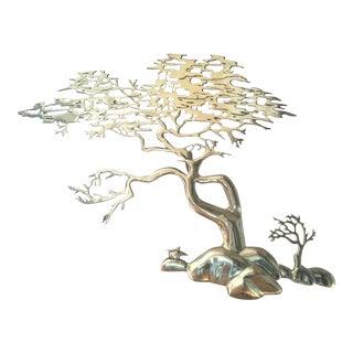 Bijan Brass Bonsai Tree Wall Sculpture