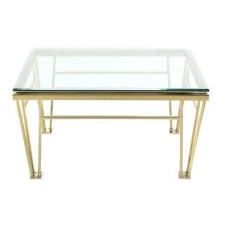 Geometric Frame Rectangular Brass Side Table w/ Glass Top