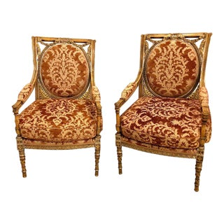 Pair of Louis XVI Paint and Gilt Decorated Armchairs in Manner of Maison Jansen