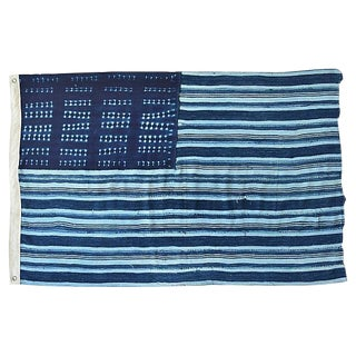 Chic Custom Tailored Blue & White Flag From African Textiles
