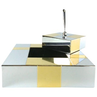 Paul Evans Brass and Chrome Desk Set for Directional