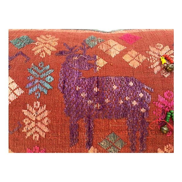 Antique Embroidered Textile Pillow - Image 7 of 8