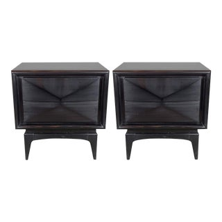 Pair of Mid-Century Modernist Cubist Nightstands with Angular Fronted Drawers