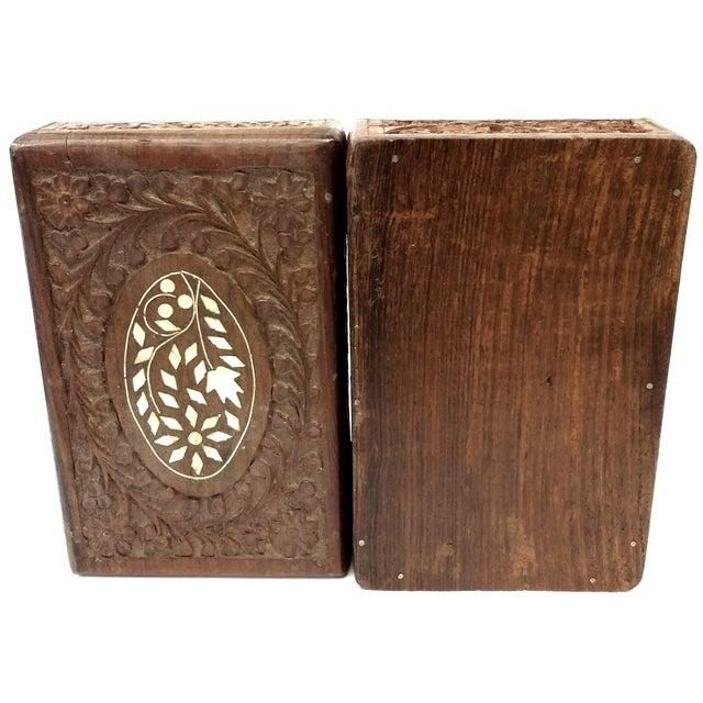 Vintage Sandalwood Carved Trinket Box India - Image 5 of 8
