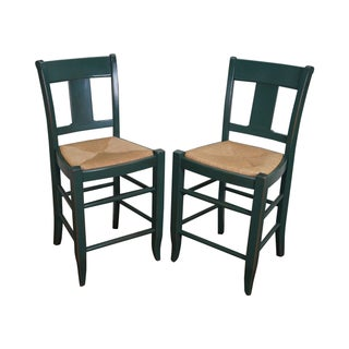 French Country Painted Rush Seat Counter Stools - A Pair