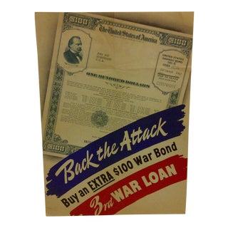 """Vintage WWII War Bond Poster """"Back the Attack"""" - """"3rd War Loan"""""""