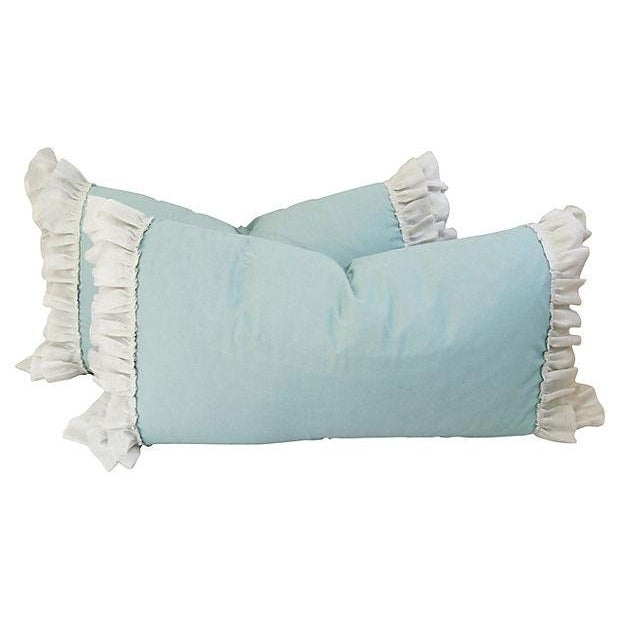 Desginer French Linen & Ruffle Trim Pillows - Pair - Image 1 of 4