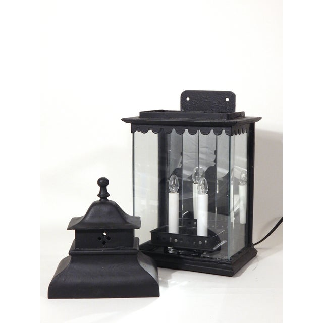 Image of Early Iron Black Lanterns - A Pair