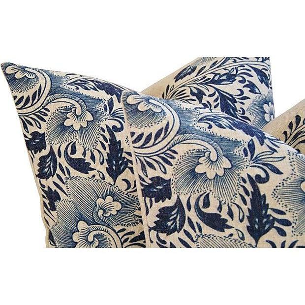 Indigo Blue Floral Linen Pillows - a Pair - Image 4 of 7
