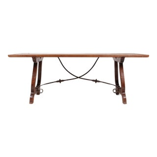 1930s Belgian Oak & Iron Trestle Table