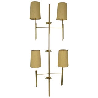 Large Modernist Brass Wall Sconce, USA, circa 1970s