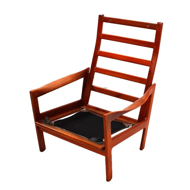 Illum Wikkelso Teak & Leather Lounge Chairs - Pair - Image 4 of 7