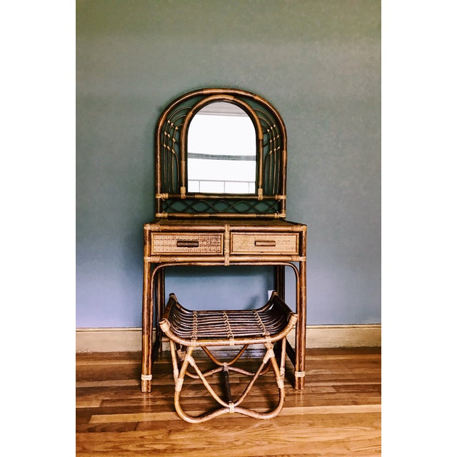 Vintage Bamboo & Rattan Two-Piece Vanity Set W/ Mirror & Stool - Image 2 of 8