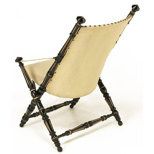 English Style Black Lacquer and Parcel-Gilt Folding Campaign Chair - Image 3 of 9