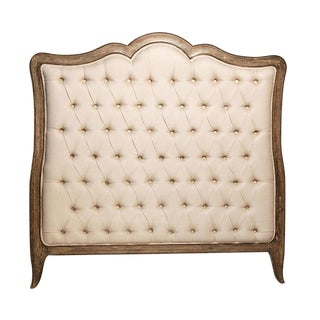 Oak & Tufted Linen Headboard