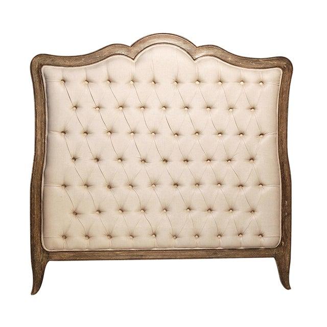 Oak & Tufted Linen Headboard - Image 1 of 2