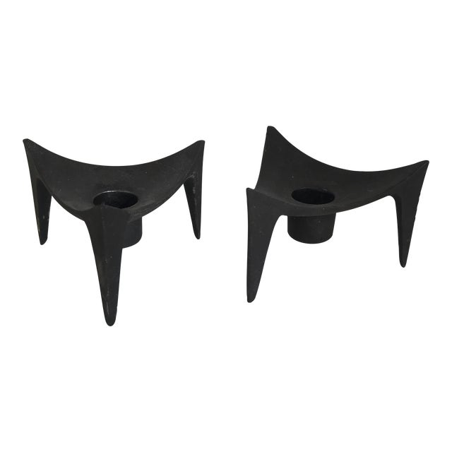 Norway Modernist Cast Iron Candle Holders - A Pair - Image 1 of 5